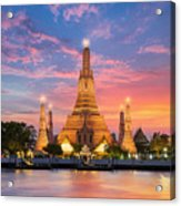 Wat Arun Night View Temple In Bangkok Acrylic Print