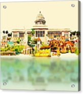 Water Color Vector Panoramic Cuba Acrylic Print