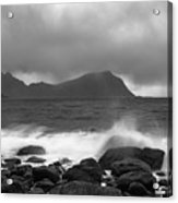 Water Hits The Coastline During Storm Acrylic Print