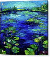 Water Lilies Story Impressionistic Impasto Palette Knife Oil Painting Mona Edulesco Acrylic Print