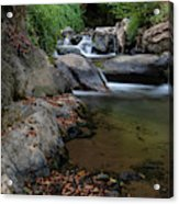Water Stream On The River With Small Waterfalls Acrylic Print