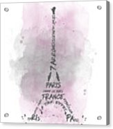 Watercolor Art Eiffel Tower - Pink Acrylic Print