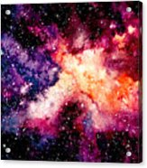 Watercolor Background With Outer Space Acrylic Print