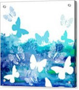 Watercolor Blue Background With Acrylic Print