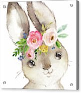 Watercolor Boho Bunny Rabbit Art Print Acrylic Print