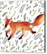 Watercolor Cute Running Fox With Green Acrylic Print