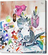 Watercolor - Kitten On My Painting Table Acrylic Print