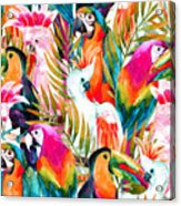Watercolor Parrots Seamless Pattern On Acrylic Print