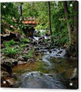 Waterfall With Wooden Bridge Acrylic Print