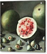 Watermelons And Figs On A Stone Ledge  Acrylic Print