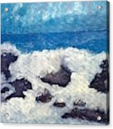 Wave Over Rocks Acrylic Print