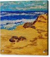 Waves On A Rocky Beach Acrylic Print