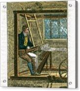 Weaver At His Loom, 1823 Acrylic Print