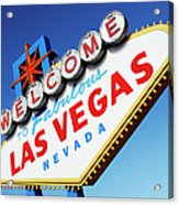 Welcome To Las Vegas Sign, Low Angle Acrylic Print