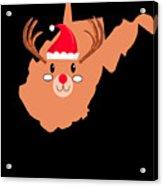 West Virginia Christmas Hat Antler Red Nose Reindeer Acrylic Print