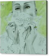 White Lace And Green Eyes Acrylic Print