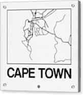 White Map Of Cape Town Acrylic Print