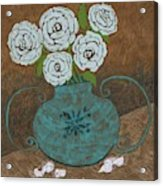 White Roses In Teal Vase Acrylic Print
