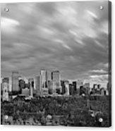 Windy Evening Calgary Downtown Bw Acrylic Print