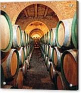 Wine Barrels In Cellar, Spain Acrylic Print
