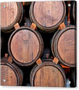 Wine Barrels Stacked Inside Winery Acrylic Print