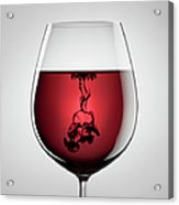 Wineglass, Red Wine And Black Ink Acrylic Print