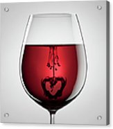 Wineglass, Red Wine, Black Ink And Acrylic Print