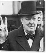 Winston Churchill Gives Victory Sign Acrylic Print