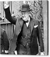 Winston Churchill Showing The V Sign Acrylic Print