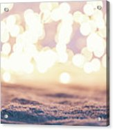 Winter Background With Snow And Fairy Lights. Acrylic Print
