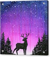 Winter Forest Galaxy Reindeer Acrylic Print