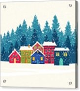 Winter Mountain Houses. Winter Landscape Acrylic Print