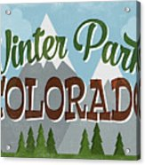 Winter Park Colorado Retro Mountains Acrylic Print