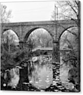 Wissahickon Creek - Reading Viaduct In Black And White Acrylic Print