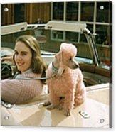 Woman & Her Poodle Acrylic Print