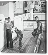 Woman And Two Men On Cruiser Deck, B&w Acrylic Print