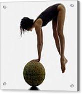 Woman Balancing On Globe Acrylic Print