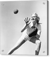 Woman Catching A Baseball Acrylic Print