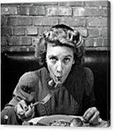 Woman Eating Spaghetti In Restaurant 5 Acrylic Print