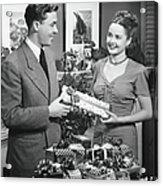 Woman Giving Gift To Man, B&w Acrylic Print
