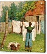 Woman Hanging Up Washing Acrylic Print