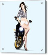 Woman Leaning On A Motorbike Acrylic Print