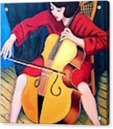 Woman Playing Cello - Bereny Robert Study Acrylic Print