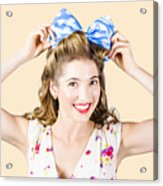 Woman Playing With Hair Tie. Retro Accessories Acrylic Print