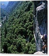 Woman Rock Climbing High Above River Acrylic Print