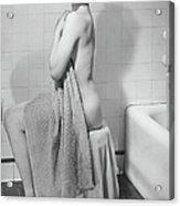 Woman Sitting In Bathroom, Covering Acrylic Print
