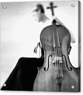 Woman Sitting In Gown Holding Cello Acrylic Print