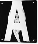 Woman With Huge Letter A Acrylic Print