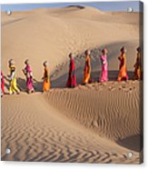 Women Fetching Water From The Sparse Acrylic Print
