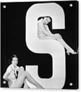 Women Posing With Huge Letter S Acrylic Print